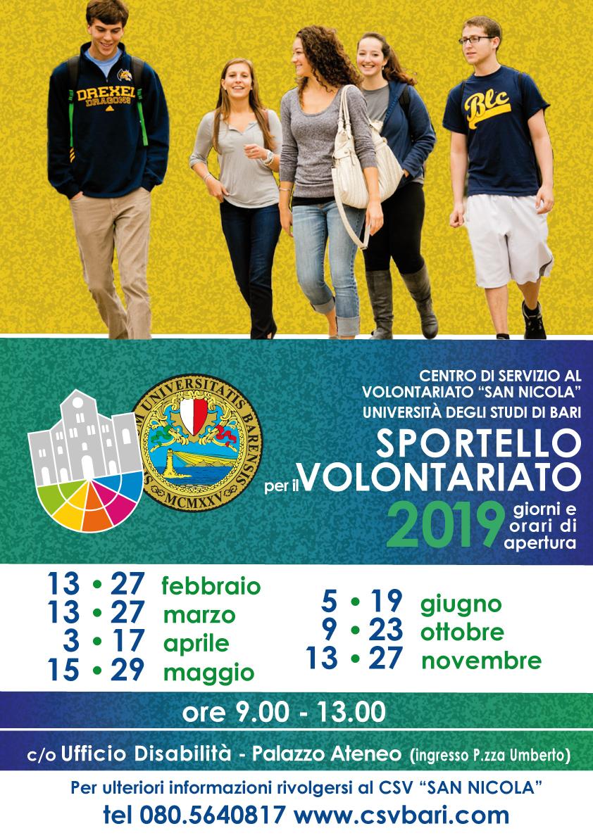 Locandina Sportello per il Volontariato Università degli Studi di Bari - CSVSN 2019