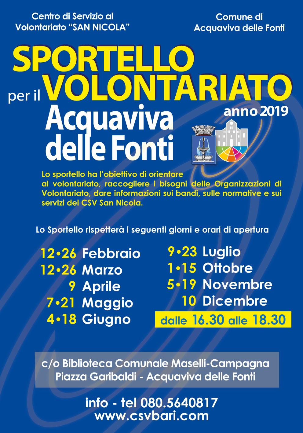 locandina Sportello per il Volontariato Acquaviva delle Fonti 2019 - CSV San Nicola