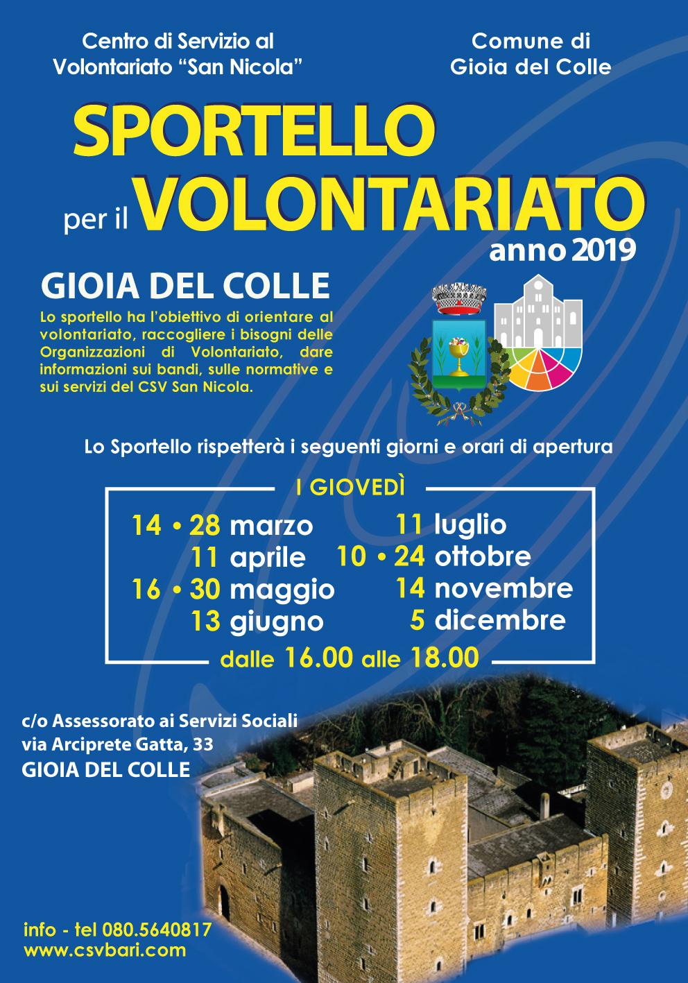 locandina Sportello per il Volontariato Gioia del Colle 2019 - CSV San Nicola