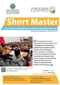 locandina Short Master Terzo Settore e Sussidiarietà 2019