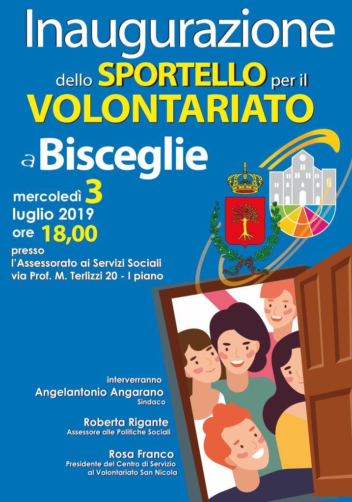 Locandina Inaugurazione dello Sportello per il Volontariato a Bisceglie 3 luglio 2019