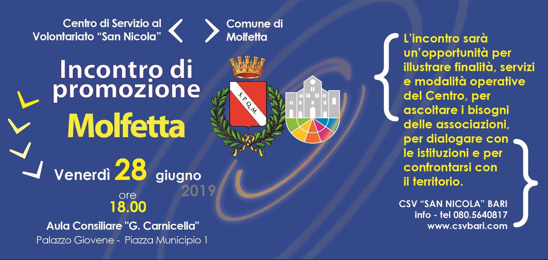 incontro di promozione e animazione territoriale a Molfetta 28 Giugno 2019
