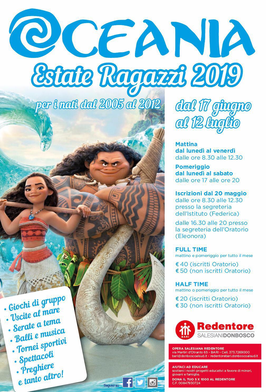 Locandina Estate Ragazzi Oratorio Salesiano Redentore Bari 17 giugno - 12 luglio 2019