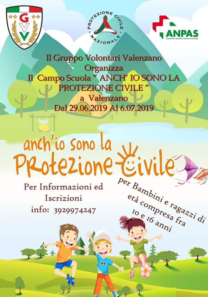 """Locandina campo scuola """"Anch'io sono la Protezione Civile"""" 29 giugno 2019 Gruppo Volontari Valenzano"""