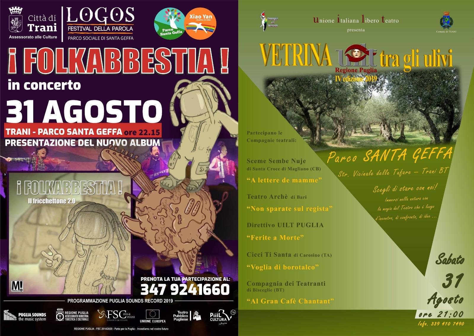 Locandina Logos Festival, finale con Folkabbestia e Rassegna teatrale UILT