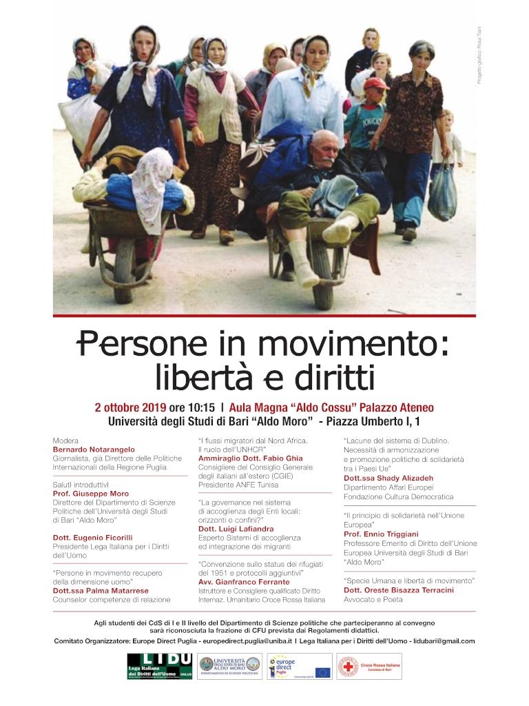 locandina Persone in movimento libertà e diritti LIDU