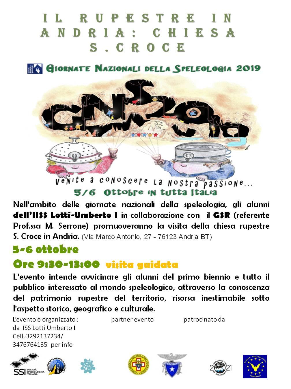 LOCANDINA Visita guidata Chiesa Santa Croce Andria 2019 - Gruppo Speleologico Ruvese