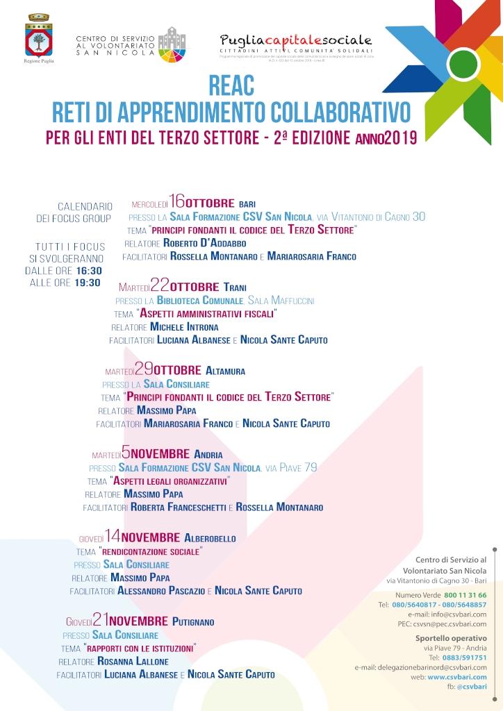 Locandina Focus group - Progetto REAC seconda edizione 2019 1024