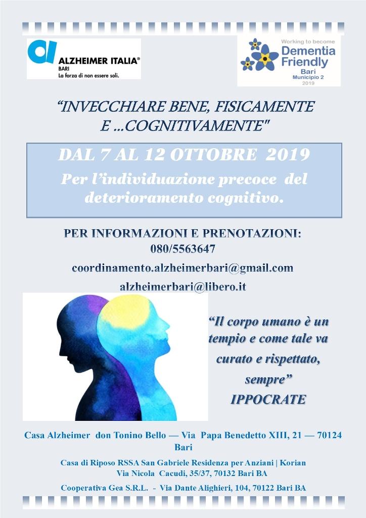Locandina Invecchiare bene fisicamente e cognitivamente screening cognitivo 2019 Alzheimer Bari