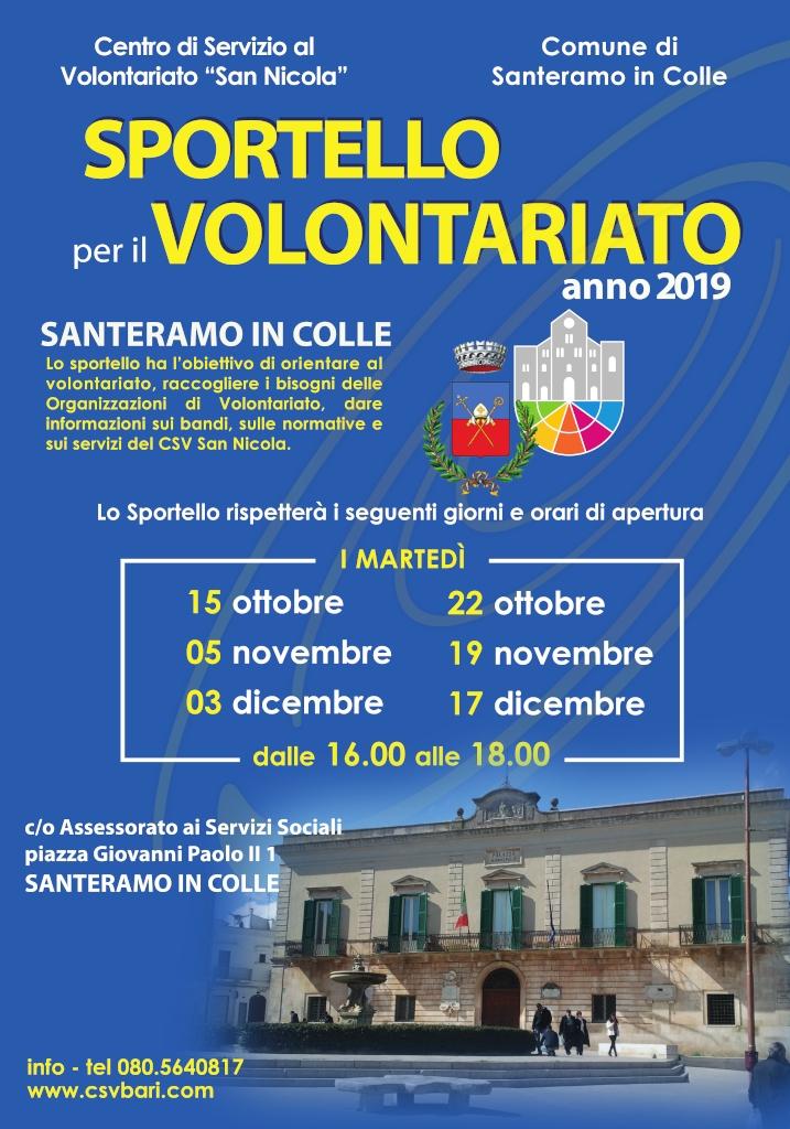 Locandina Sportello per il Volontariato Santeramo in Colle - CSVSN 2019