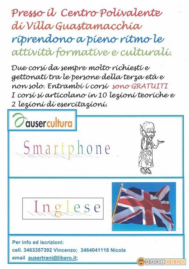 Locandina corso smartphone e inglese Nonno e Nonna Auser Cultura Trani