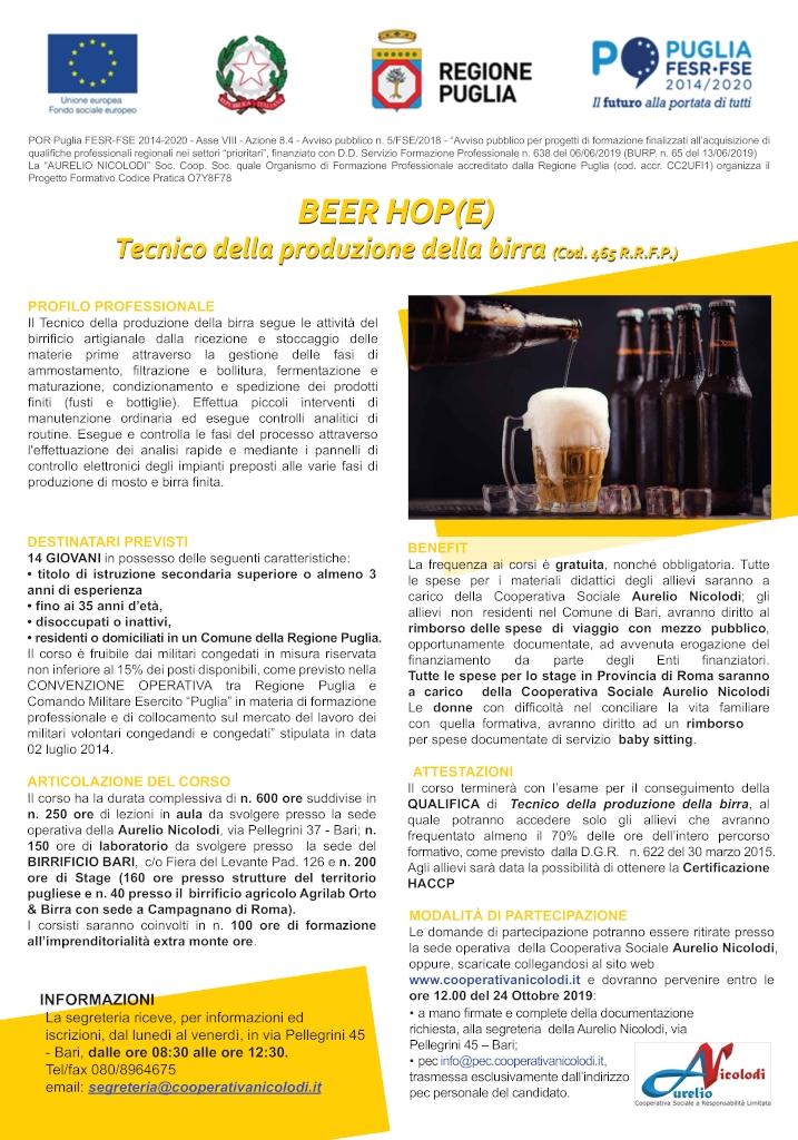 Manifesto Beer Hop(e) Tecnico della produzione della birra Cooperativa Sociale Aurelio Nicolodi 2019