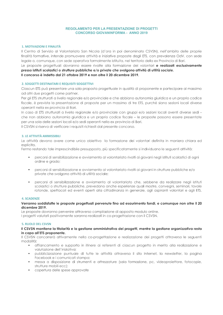 Regolamento GIOVANINFORMA 20191021 CSVSN