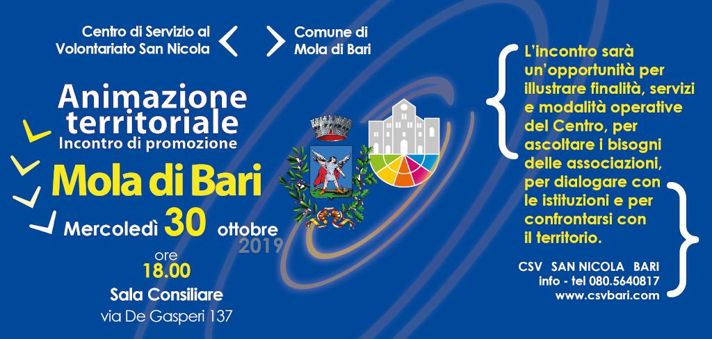 invito Animazione Territoriale - Incontro di Promozione CSVSN MOLA DI BARI 2019