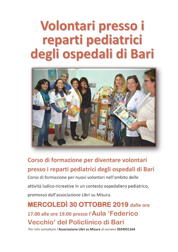 locandina Corso per diventare volontari presso reparti pediatrici LIBRI SU MISURA 2019