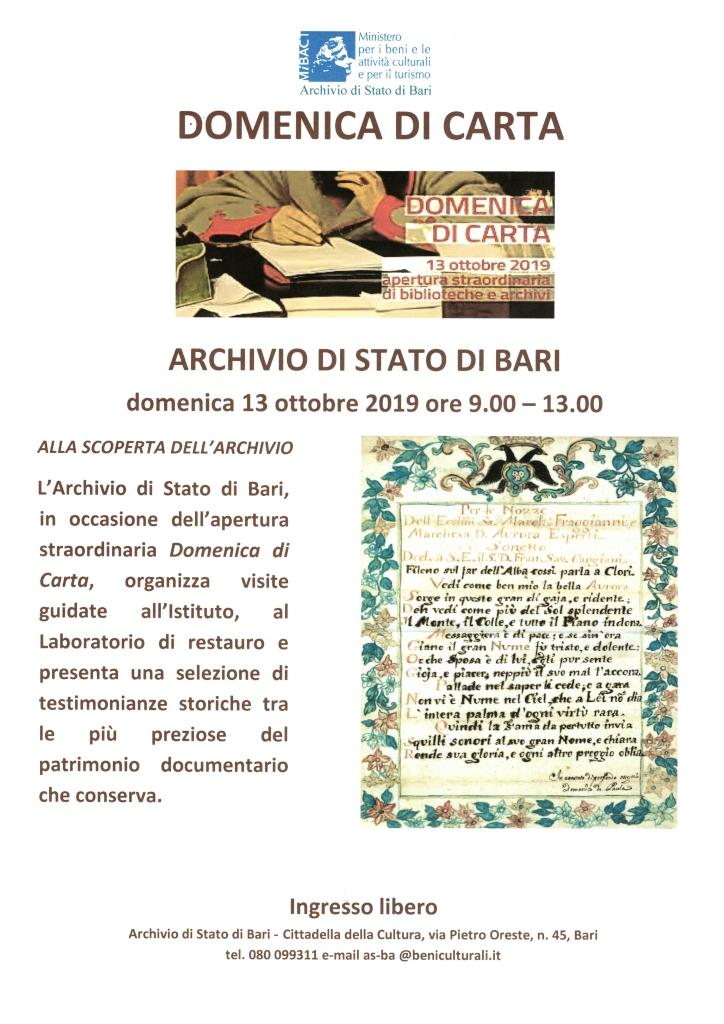locandina Domenica di Carta - Archivio di Stato di Bari ottobre 2019 1024