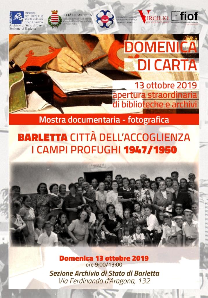 locandina Domenica di Carta - Sezione di Archivio di Stato di Barletta ottobre 2019 1024