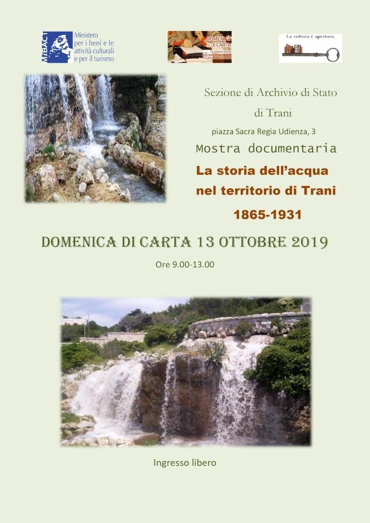 locandina Domenica di Carta - Sezione di Archivio di Stato di Trani ottobre 2019 1024