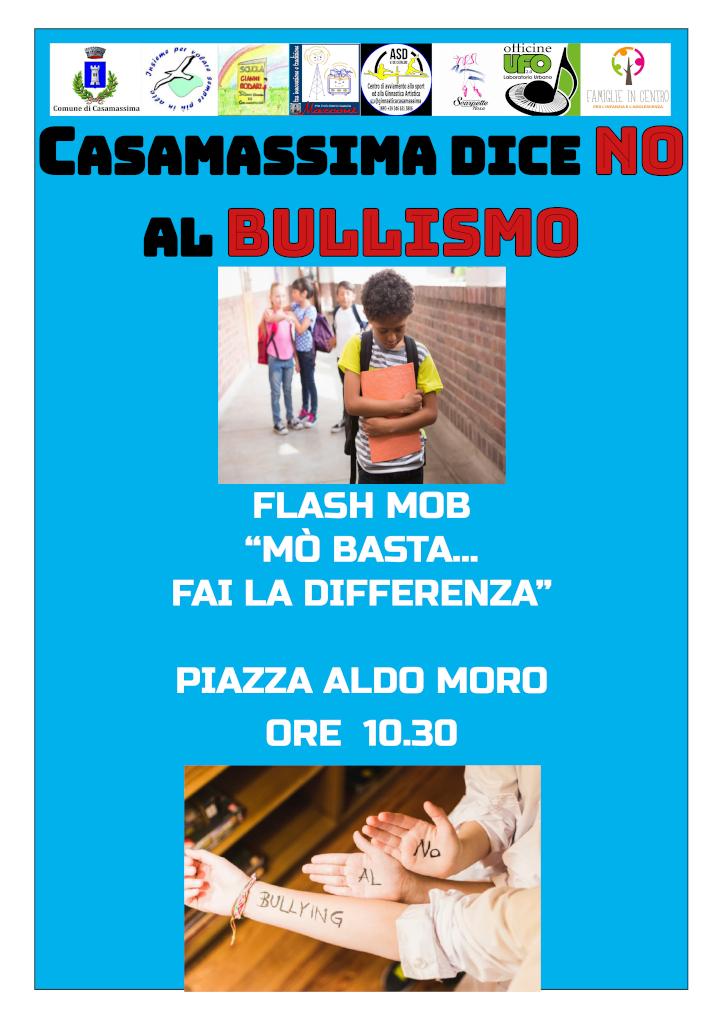 locandina Flash mob Mo basta fai la differenza contro il bullismo