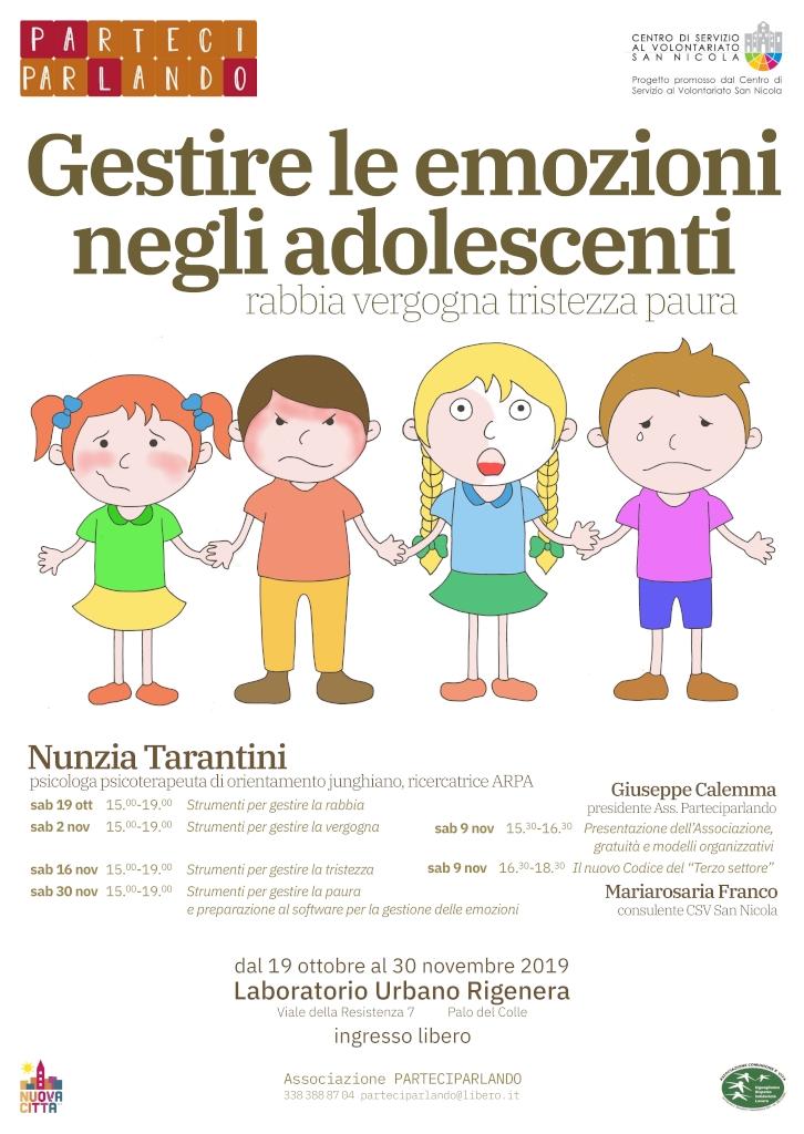locandina Gestire emozioni adolescenti Parteciparlando progetto CSVSN