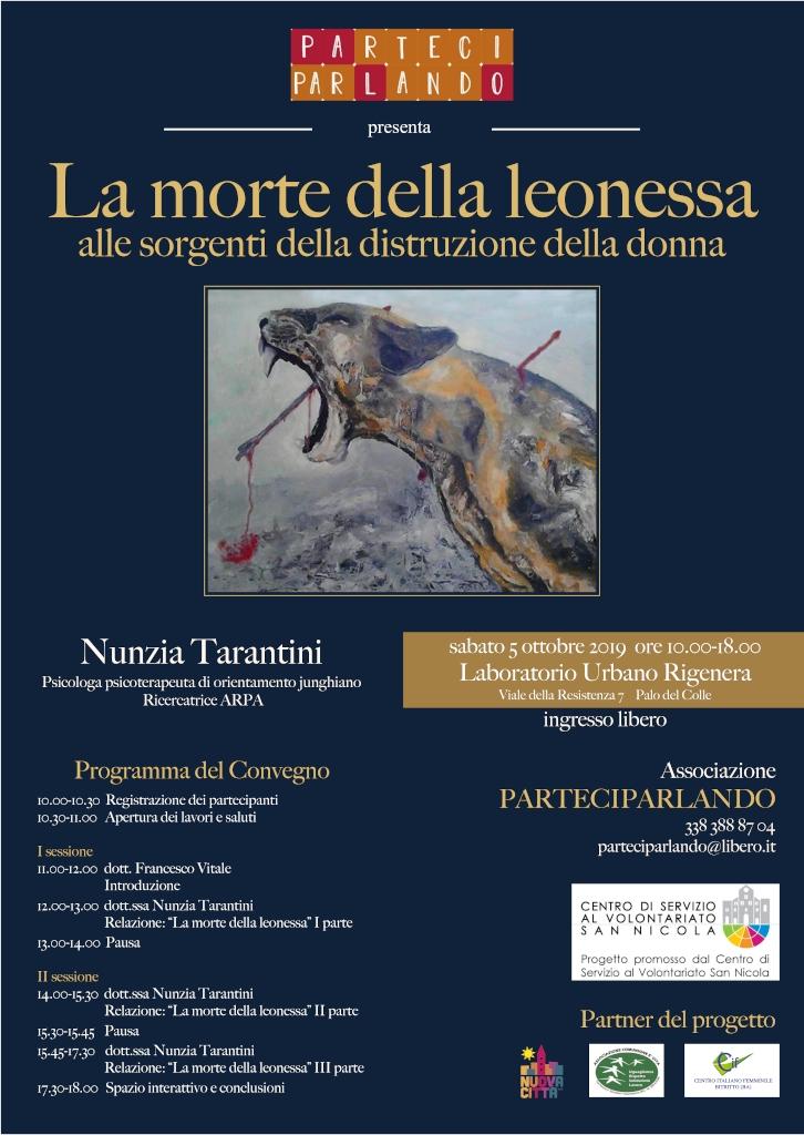 locandina La morte della leonessa PARTECIPARLANDO - Progetto CSVSN 2019