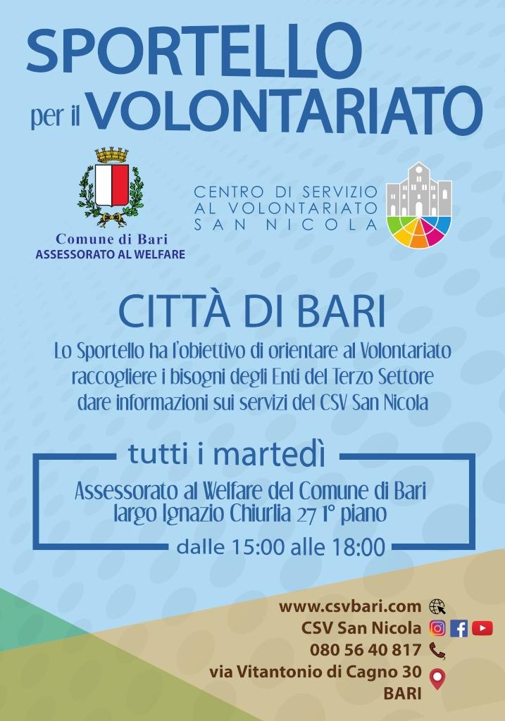 locandina Sportello per il Volontariato Bari CSVSN 2019