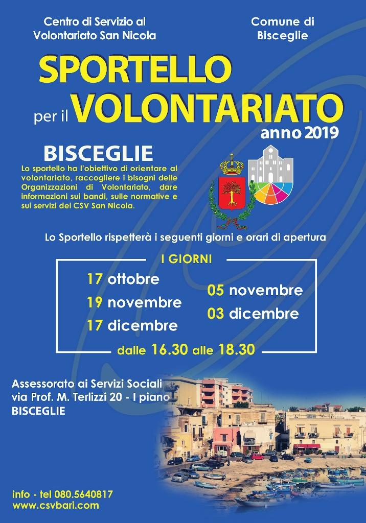 locandina Sportello per il Volontariato Bisceglie - CSVSN 2019