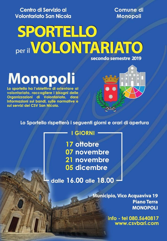 locandina Sportello per il Volontariato Monopoli - CSVSN 2019 1024