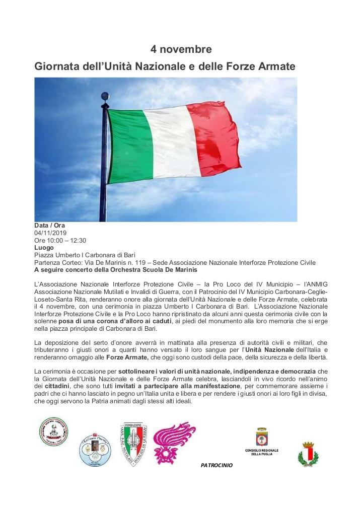 programma Cerimonia civile del 4 Novembre festa dell'Unità Nazionale e delle Forze Armate AIOS