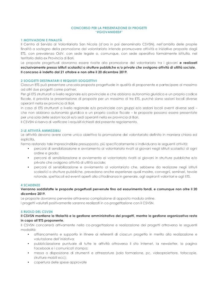 regolamento concorso giovanidee 20191021 CSVSN -