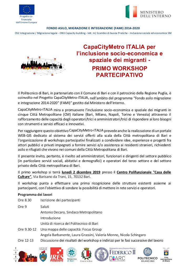 Invito CapaCityMetro Bari 2019