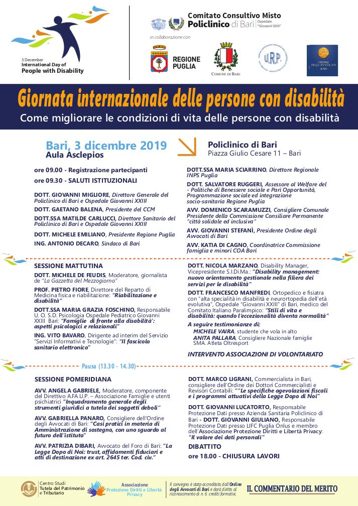 Locandina Come migliorare le condizioni di vita del disabile 2019