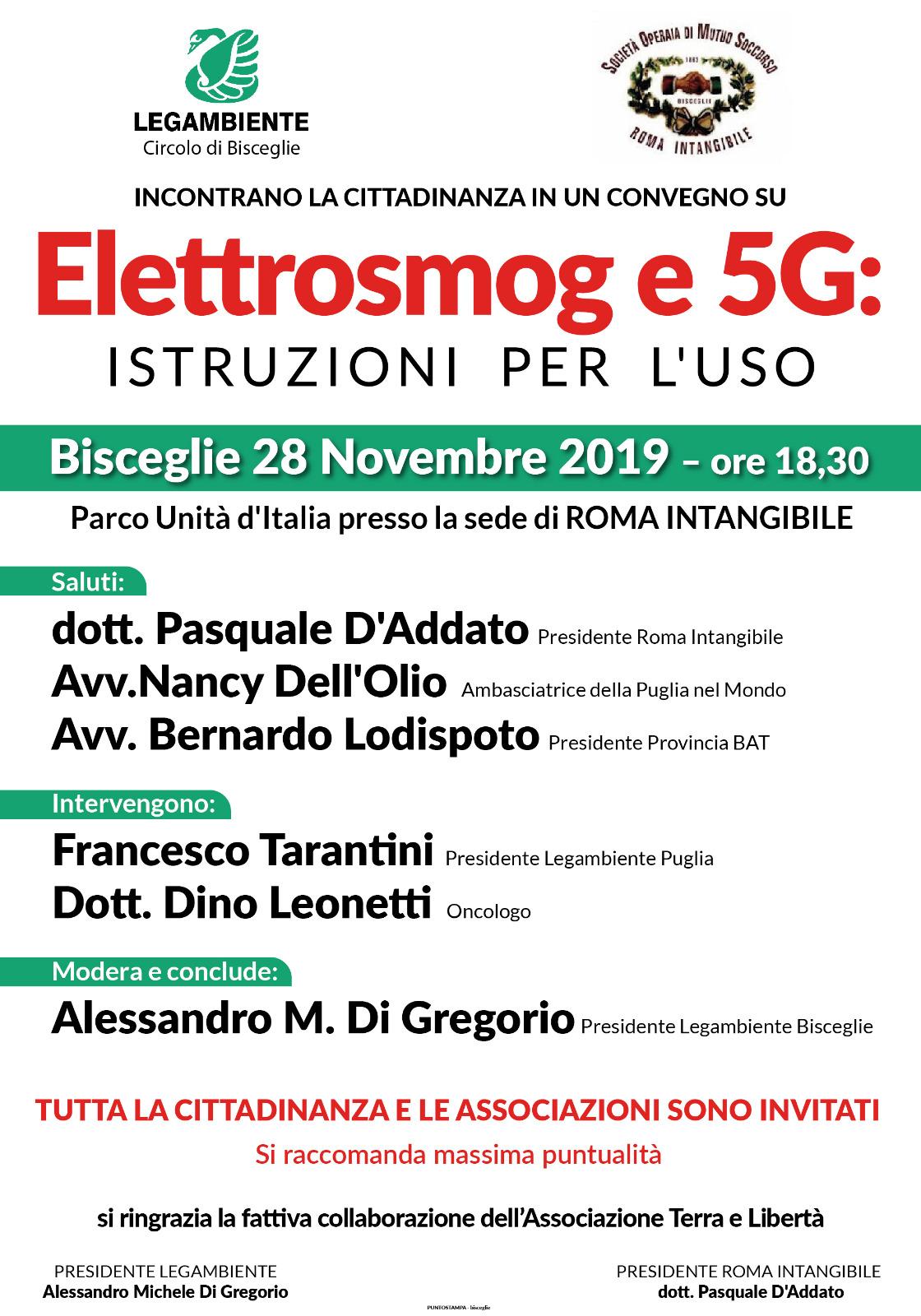 Locandina Elettrosmog e 5G istruzioni per l'uso - novembre 2019 - Legambiente Bisceglie