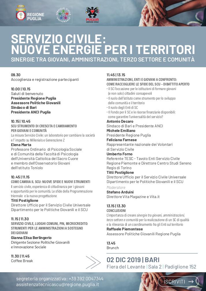 Programma convegno Servizio civile nuove energie per i territori 2019 - Regione Puglia