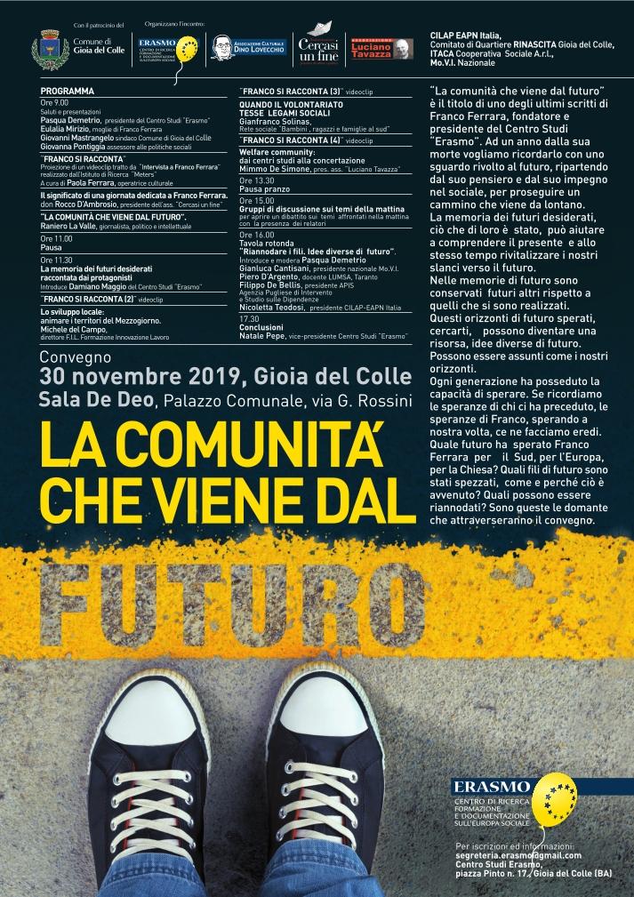 locandina La comunità che viene dal futuro - Novembre 2019 - ERASMO