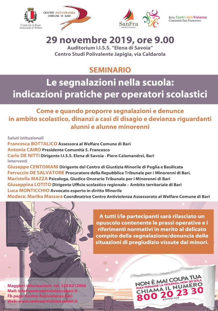 locandina Le segnalazioni nelle scuole - Centro antiviolenza Bari