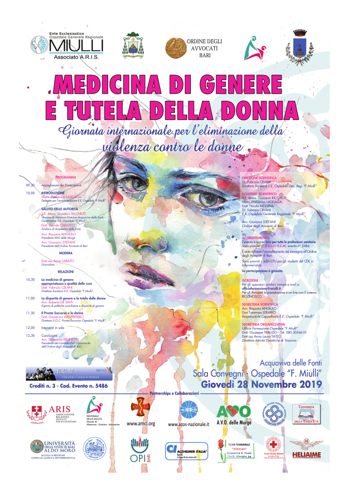 locandina Medicina di genere e tutela della donna novembre 2019 - Miulli