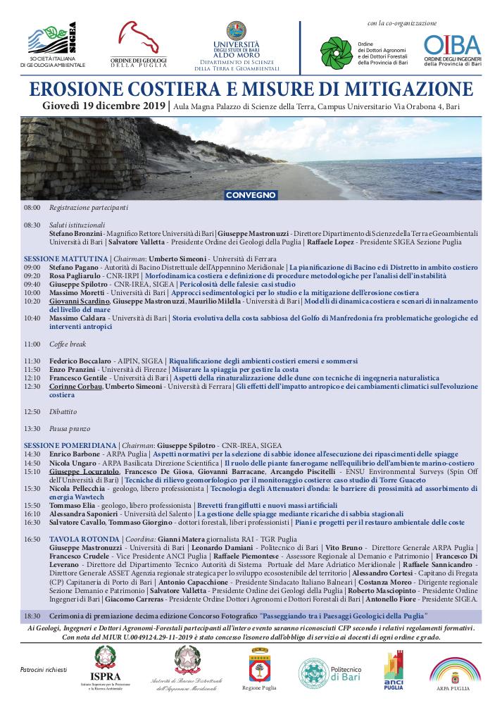 Registrazione Erosione costiera e misure di mitigazione - SIGEA 2019