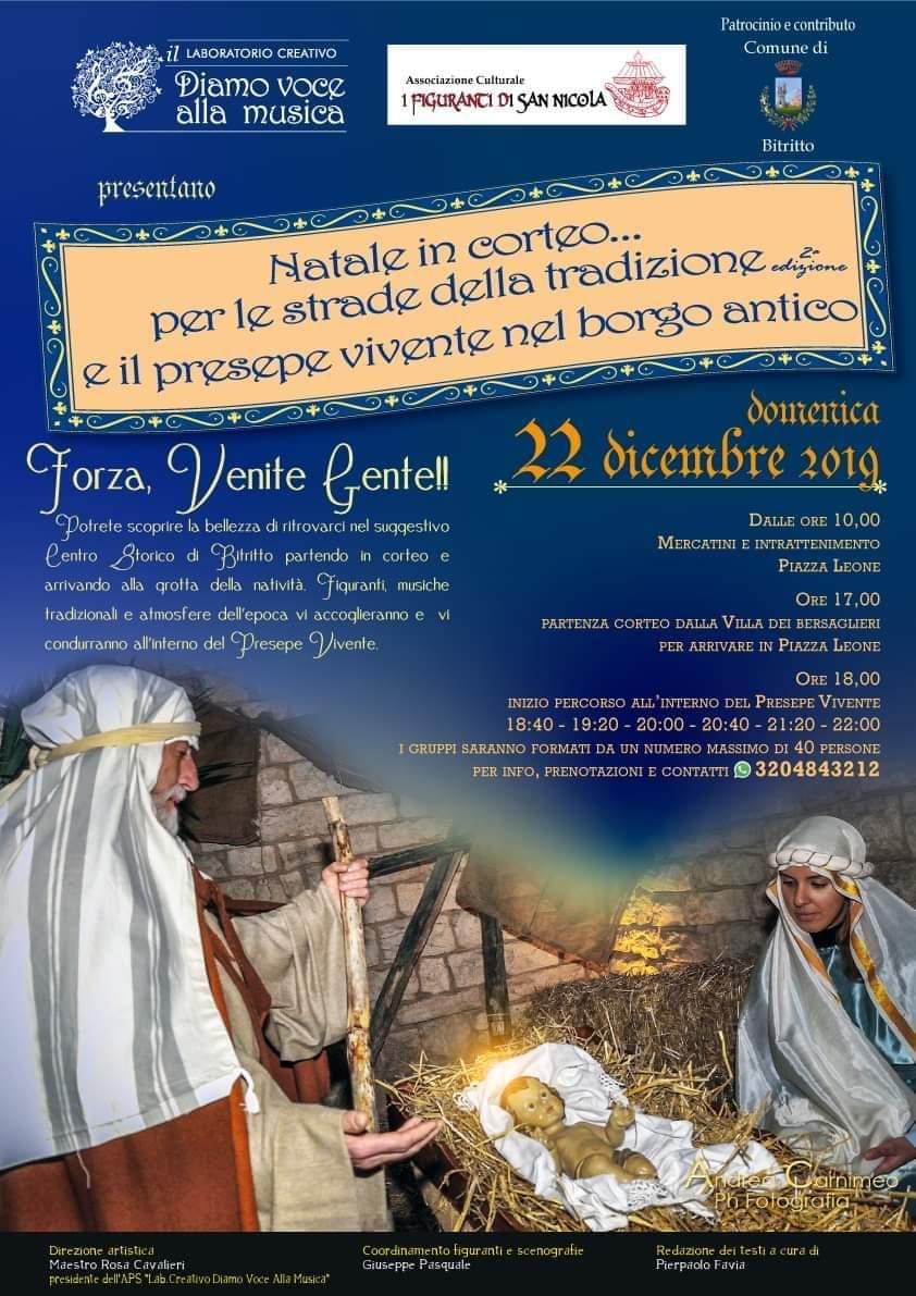 Locandina Natale in corteo per le strade della tradizione - Diamo voce alla musica 2019