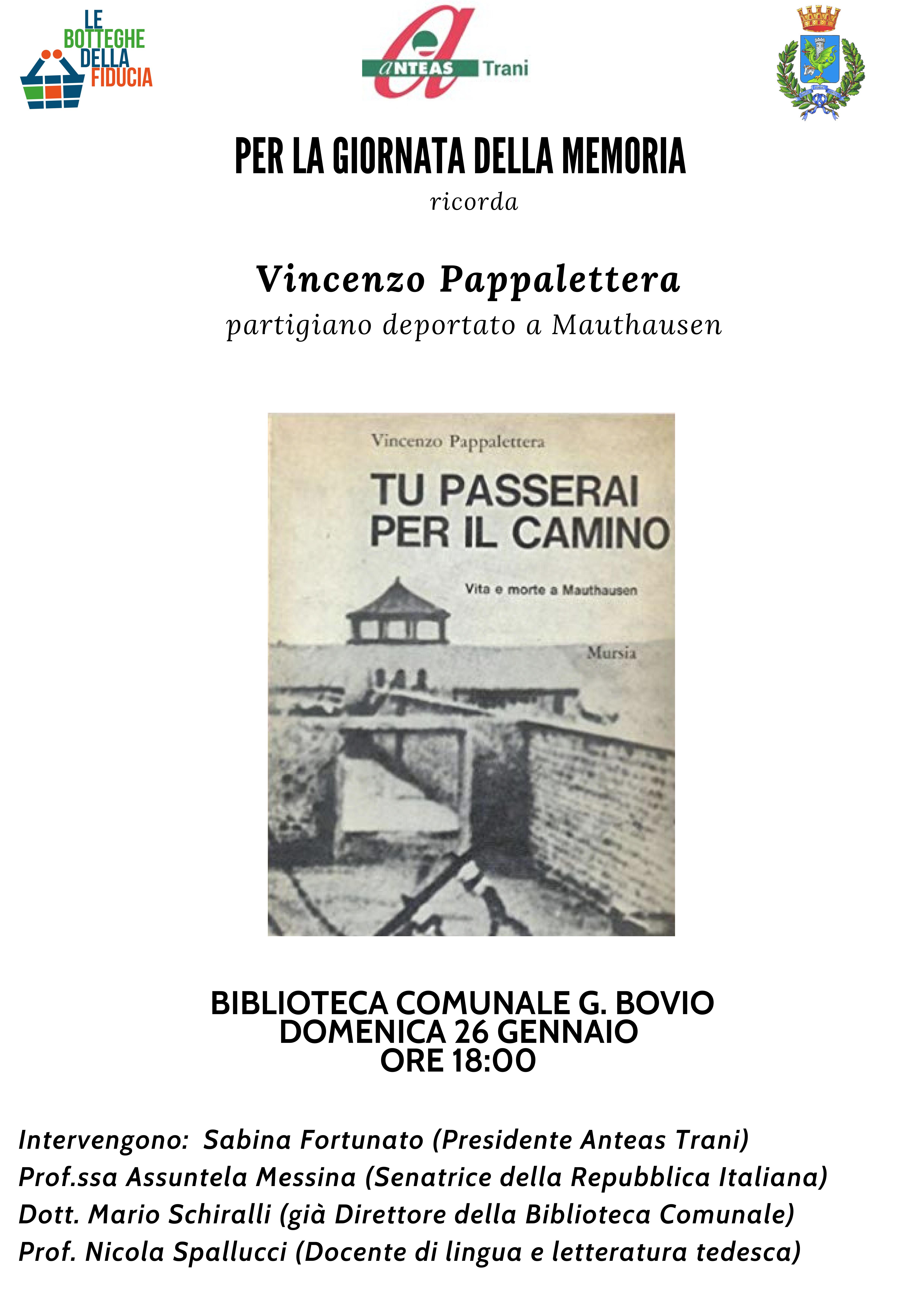 Locandina Vincenzo Pappalettera - Mauthausen - Giorno della Memoria 2020 ANTEAS Trani