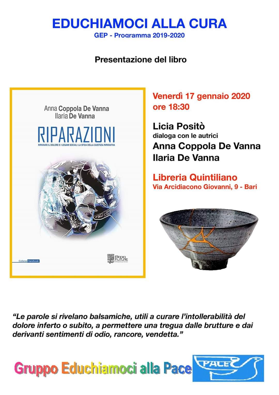 locandina presentazione libro Riparazioni - Giustizia riparativa - Associazione GEP gennaio 2020