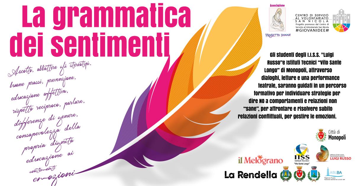 Banner La grammatica dei sentimenti - Progetto Donna - CSVSN #GIOVANIDEE