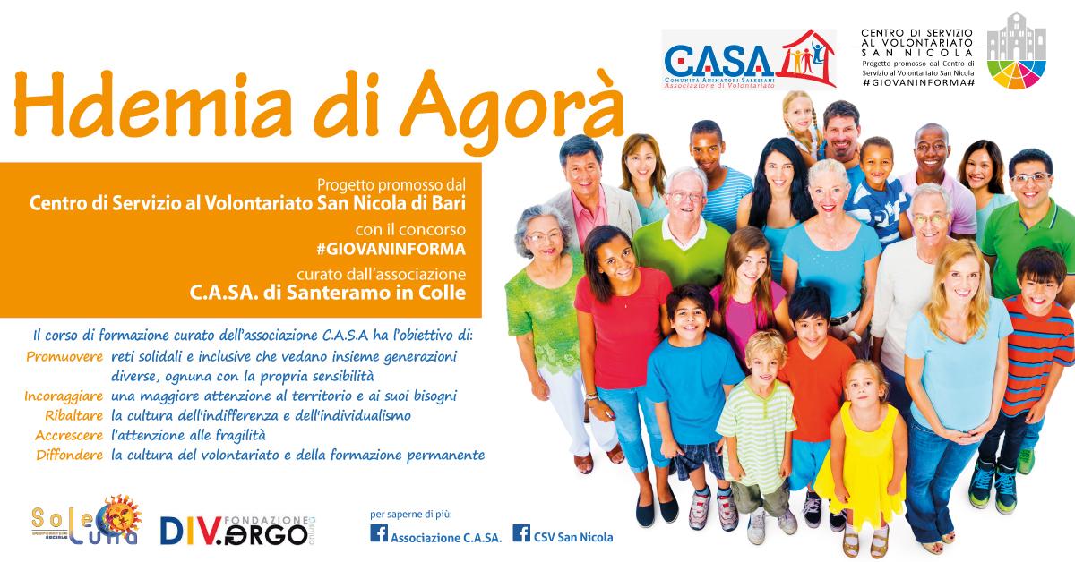 Banner Locandina Hdemia di Agorà - Associazione C.A.SA. Santeramo in Colle - #GIOVAINFORMA