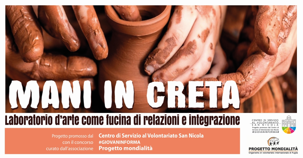 Banner Mani in creta Progetto Mondialità Trani #GIOVANINFORMA - CSVSN r