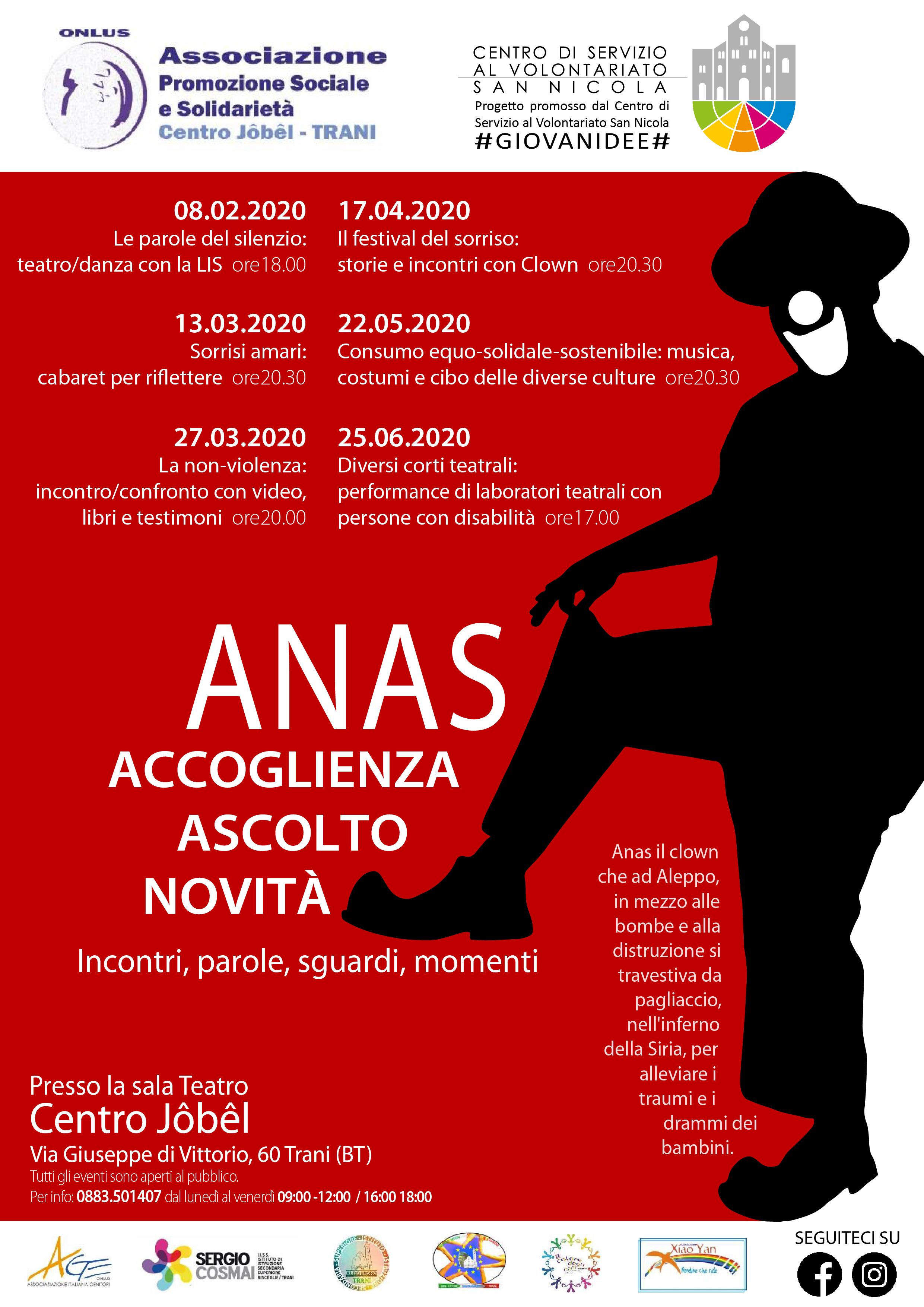 Locandina ANAS – Accoglienza Novità Ascolto Solidarietà