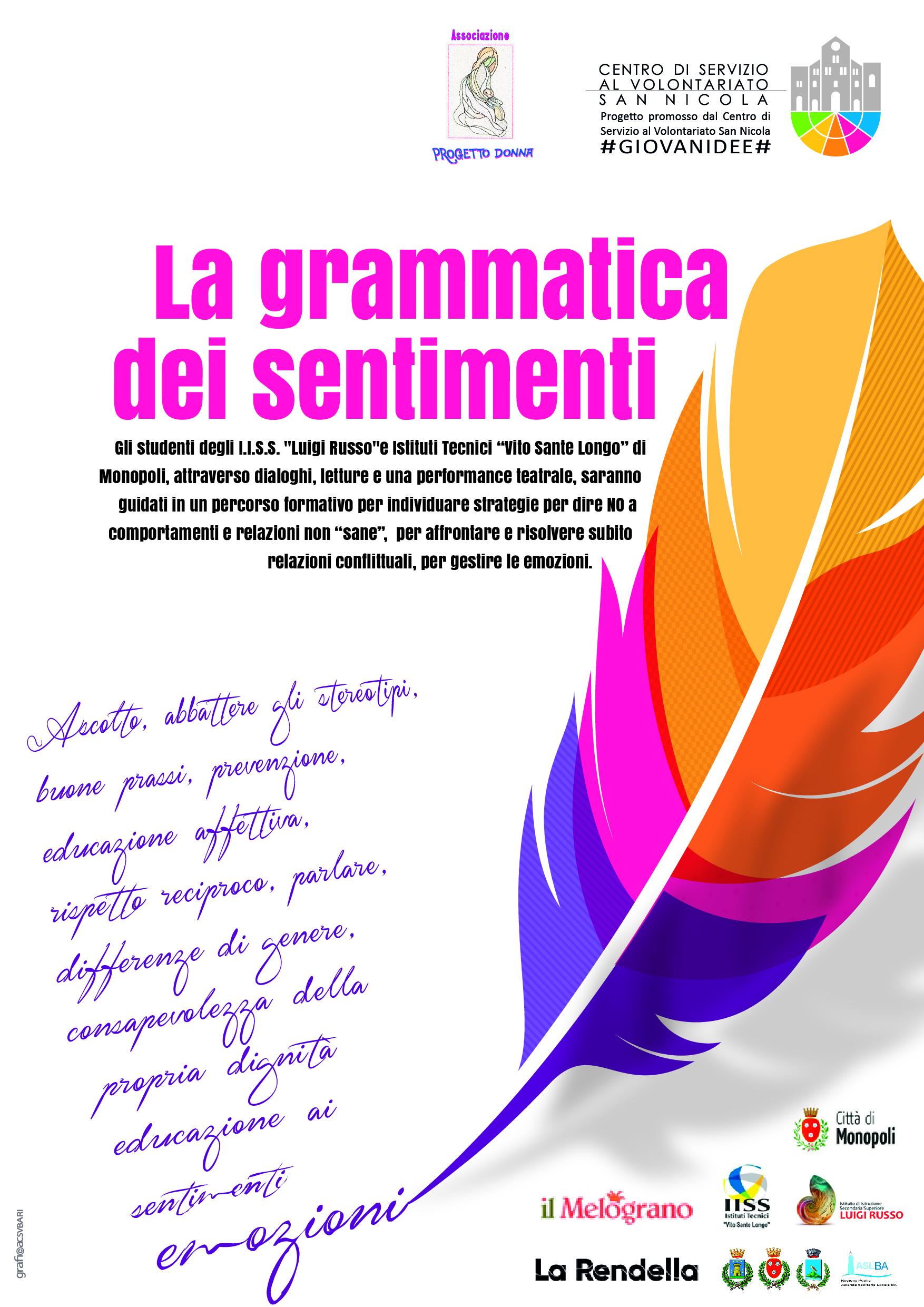 Locandina La grammatica dei sentimenti - Progetto Donna - CSVSN #GIOVANIDEE