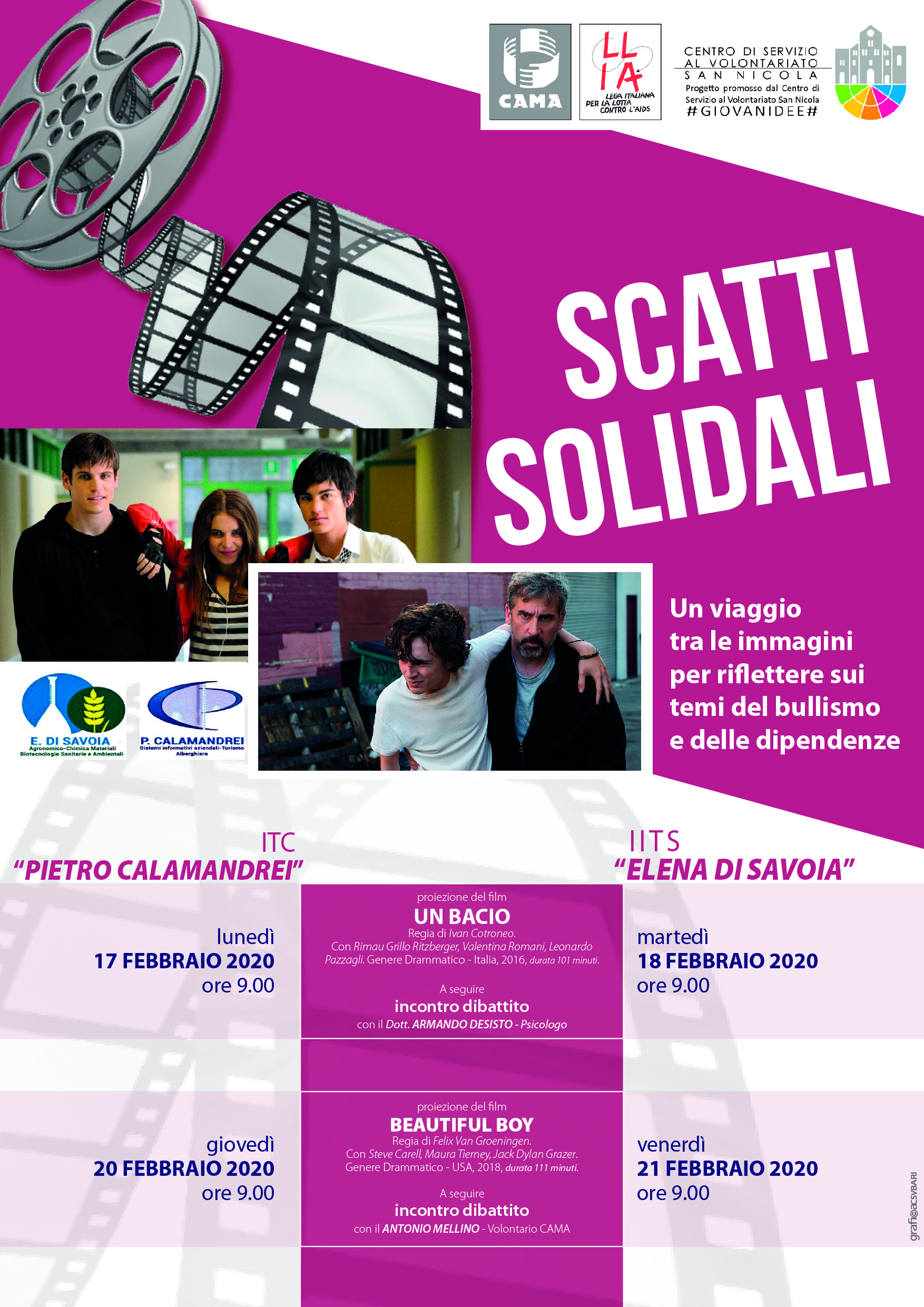 Locandina Scatti Solidali - CAMA LILA - #GIOVANIDEE CSVSN