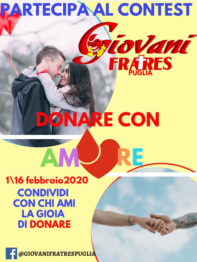 Locandina contest fotografico Donare con Amore Giovani Fratres Puglia