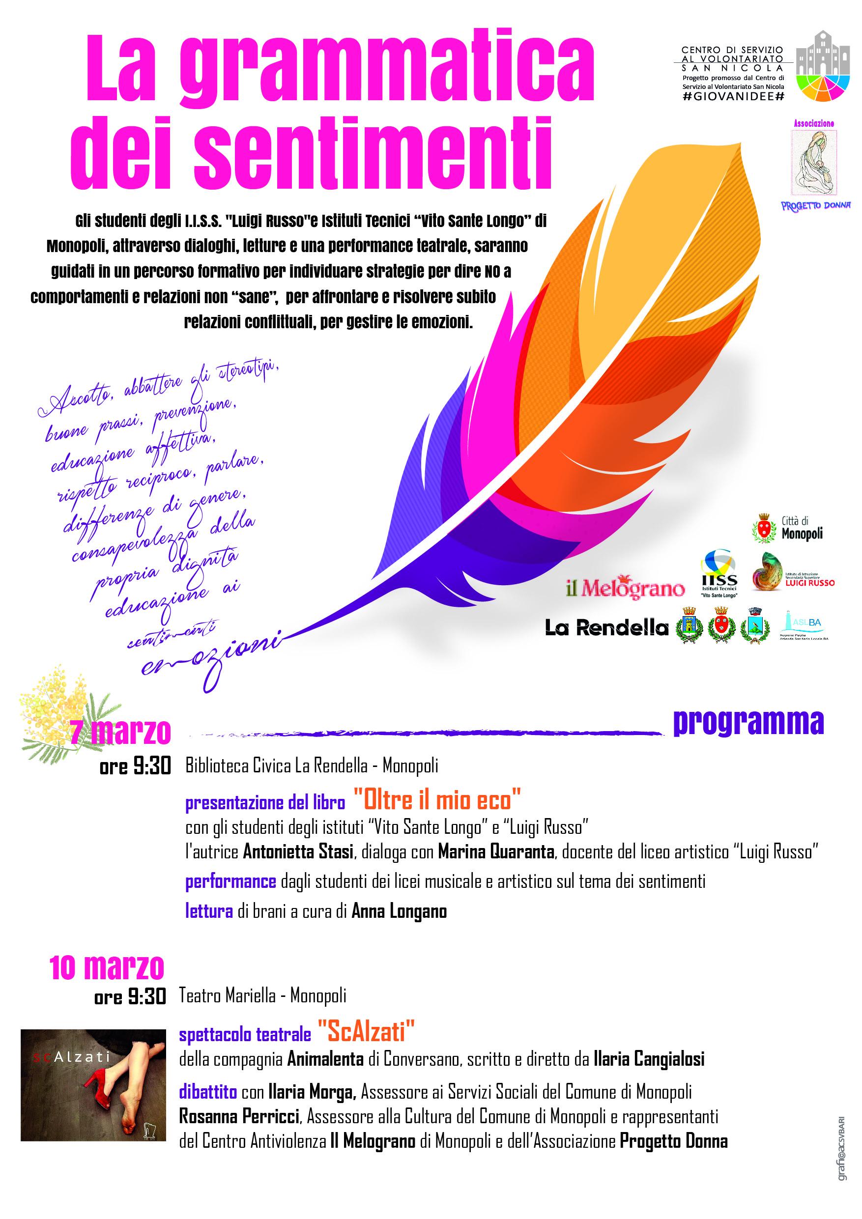 Programma La grammatica dei sentimenti - Progetto Donna - CSVSN #GIOVANIDEE -