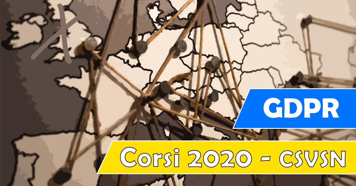 Banner GDPR - Regolamento europeo in materia di protezione dei dati personali - Corso 2020